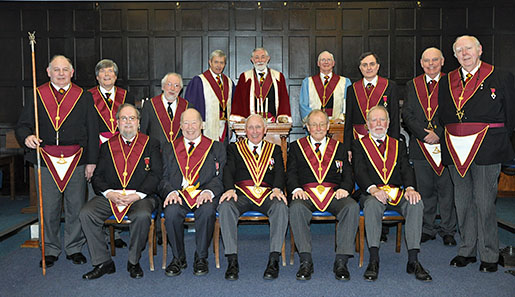 The Installation meeting of the Pride of Surrey Council No 168 took place in March. As the T.I.M., Ill.Comp. Mark Elphick, was unable to attend, one of the Council's Honorary Members, R.Ill.Comp. Arnold Long, Past District Grand Master, kindly acted as the T.I.M. to open the Council and install Comp. Richard Veness as Thrice Illustrious Master for the year.  Comp. Chris Eley was then appointed and invested as the Deputy Master and Comp. Barry Northmore was appointed and invested as the Principal Conductor of the Work. (insert picture - 2016_03_04 Pride of Surrey Council.JPG) To end a most enjoyable afternoon, the Companions of the Pride of Surrey Council and their guests sat down to a most enjoyable festive board at the Sutton Masonic Hall. Article and photograph by Chris Eley